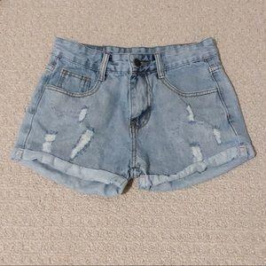 Pants - Light-Wash Denim Shorts S
